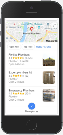 google map pack on mobile