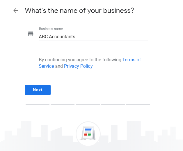 entering business name into google