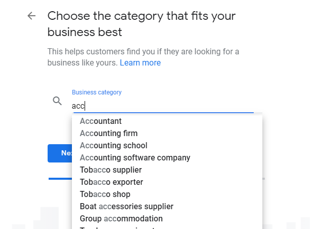 selecting a primary category on google my business